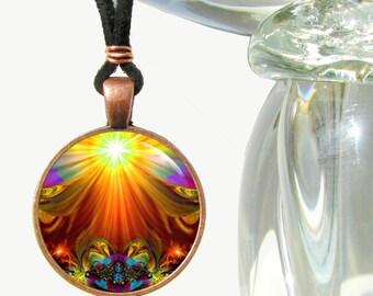 "Chakra Jewelry, Orange Necklace, Original Abstract Art Pendant ""Light Being"""