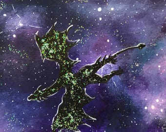 Galaxy dragon 3 original ACEO/ Artists trading card. Mixed media. Free UK delivery.