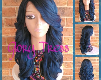 ON SALE // Celebrity Inspired Hairstyle, Ombre Blue Wig, Long Loose Curly Lace Front Wig // PERFECT1 (Free Shipping)