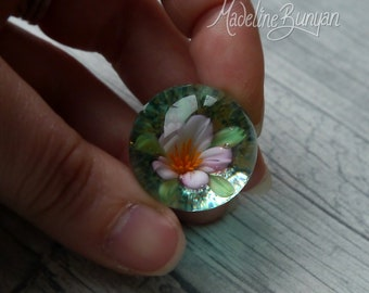 Everlasting cherry blossom Marble, unusual gift, collectible glass art, sphere, lampwork, flower, implosion, flower marble, sakura