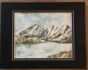 Canadian Rockies mountain watercolor original art