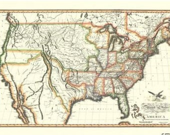 1820 United States Antique Wall Map Reproduction