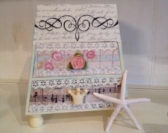 Shabby Chic Jewelry Box, Decoupaged Jewelry Chest,  2 Drawer Jewelry Storage, Trinket Box