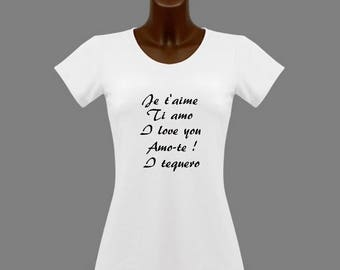 T-shirt women white message I love you in several languages