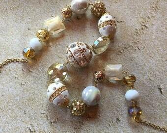 Gold Elegance - Statement Necklace, Beadwork Necklace, Glass Bead Necklace, Beaded Necklace, Womens Jewelry