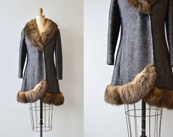 Odense wool coat | vintage 1960s coat | rabbit fur trimmed wool 60s coat