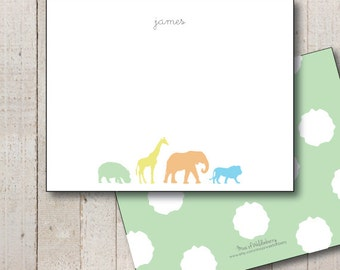 Baby Shower Thank You // Baby Thank You // Animal Stationery // Animal Silhouette // Newborn Gift