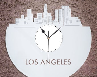 Los Angeles Wall Clock,  LA Clock, California Cityscape, Decoration Idea, Gift For Her, Wedding Gift, Unique Vinyl Record Clock, Art Decor