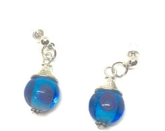Blue Rose Drop Earrings
