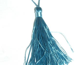Blue cotton tassel twisted 12 cm x 1.5 cm.