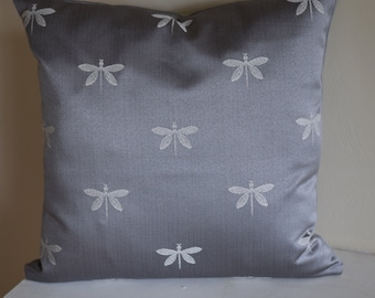 Swavelle Imperial Dragonfly Graphite 18x18 Throw Pillow Cover with Invisible Zipper