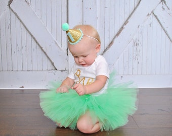 Mint and Gold 1st Birthday Outfit Girl, 1st Birthday Tutu Set, First Birthday Tutu, First Birthday Outfit, Cake Smash Outfit, Gold Party Hat