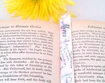 French Decoupage Wood Handpainted Repurposed Bookmark