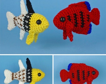 PDF Tropical Fish Set 4 - two amigurumi fish CROCHET PATTERNS Pajama Cardinalfish Flame Angelfish