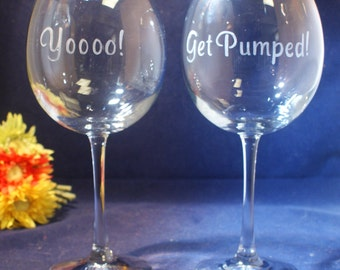 2 Engraved Large Wine Glasses, 18 ounce capacity, Free Personalization