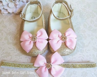 Pink and Gold First Birthday Outfit - Pink and Gold First Birthday - First Birthday Girl Outfit - First Birthday Outfits - Gold Baby Shoes