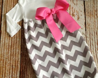 Newborn Layette, Infant Gown, Baby Gown - Girl - Riley Blake Chevron - Gray