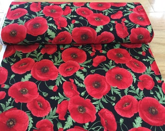 New Fabric ~ Tossed Poppies Black Color ~ Timeless Treasures Collection, Cotton Quilt Fabric