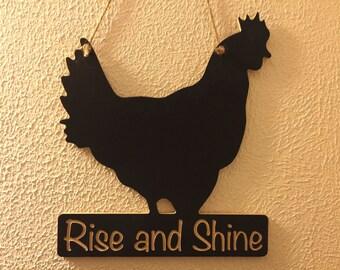 Engraved Rooster Shaped Chalkboard
