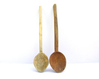 2 Vintage Old Primitive Wooden Spoons , Wood Ladle Cooking Spoons, Retro Kitchen Tool, Hand Carved Decoration 14.6 inches and 15.2  inches