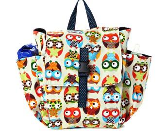 Toddler bag Cotton Children bag Kids day bag, diaper bag - Owl print