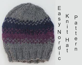 Easy Nordic Hat Knitting Pattern, Beginner's Fair Isle Knit Hat PDF Pattern, Slouchy Beanie Pattern, Instant Download