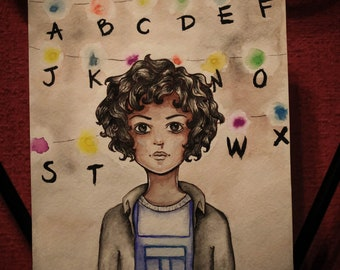 Painting 11 Eleven Stranger Things Art Watercolor