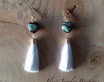 Glass Heart and Tassel Drop Earrings