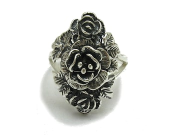 Sterling silver pendant solid 925 flower rose with leather