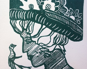 "Wall Art Lino cut print  ""Lilly"""