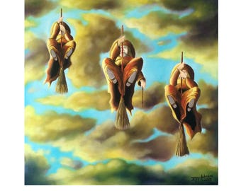 Witch Painting//Oil Painting// Paintings//Three Witches Fly//16x16//