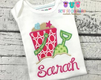 Baby girl beach outfit - Baby girl summer outfit - Baby Girl Personalized summer Shirt - Girl Summer Clothes - sand pail girl shirt and name