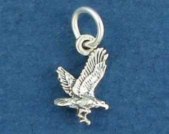 Flying EAGLE Charm .925 Sterling Silver USA Bird MINIATURE Small - elp1583R