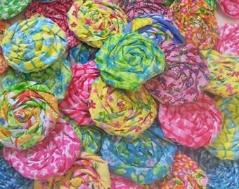 "Bobby Pin Fabric Flowers Rose Applique 20 Hair Clip Barrette Headband Rosette 1"" Embellishment Scrapbook Handmade Wholesale"