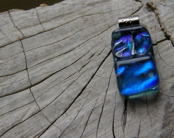 true blue fused dichroic  glass pendant