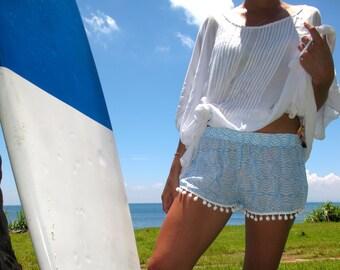 Pom Pom Shorts - Pale Blue & White Zebra Print with White Pom Pom Trim - 70's beach shorts