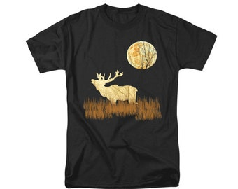 Elk T-shirt, Southwestern Art, Men's Clothing, Digital Wildlife Design, Sepia and Black Shirt, Men or Women, Wearable Bugling Elk Art