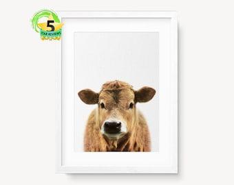 Cow Print, Farm Animal Print, Cow Wall Art, Farm Nursery Animal Print, Rustic Farm Print, Farmhouse Decor, Farm Cow Print, Large Print, Cow