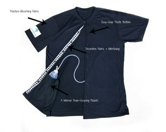 Black Recovery Tee Breast Cancer Surgery or Mastectomy -Drain Management, Radiation and Chemotherapy