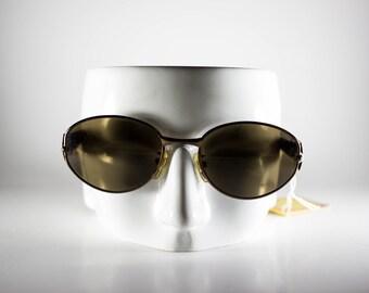 CHARME Vintage Sunglasses Unisex Brown Metal Plastic Oval 1990s CHAS121M-1