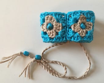 Crochet wristband crochet bracelet crochet granny squares with beads in turquoise and beige