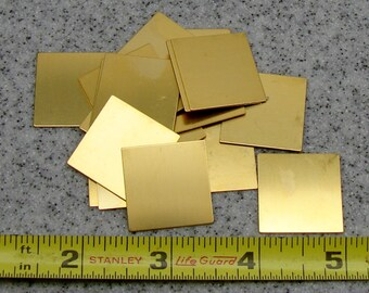 """1"""" Brass Square 24 Gauge  Pack of 18"""
