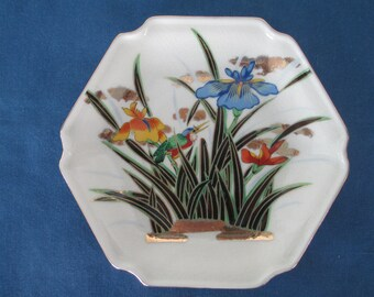 Vintage Asian Decorative Porcelain Floral Bird Plate Collectible Home Decor Collectible Plate Dish