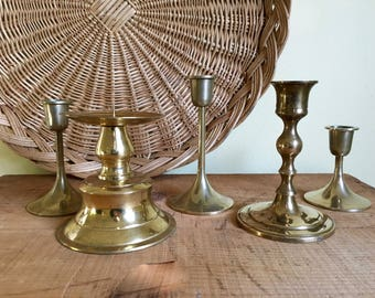 Set of Five Brass Candleholders, Mismatched, Wedding Centerpiece, Mantel Decor, Mid Century, Boho
