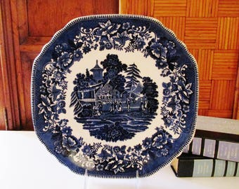 Crown Staffordshire English Blue and White Platter, Avon Cottage Cake Plate, English Blue Transferware, Cottage Chic, Blue White Plate