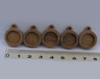 5 pieces  unfinished walnut base blank , making pendant, picture frame ,wooden bezels cup