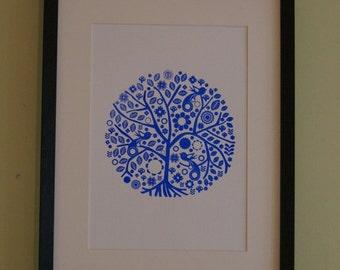 Screen printed folk art tree poster print
