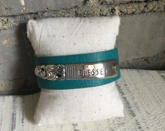Blessed Turquoise Spoon Handle Leather Cuff
