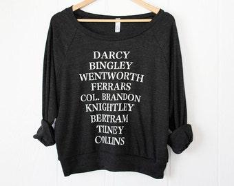 Jane's Men - women's slouchy sweatshirt - screen printed - Jane Austen novels