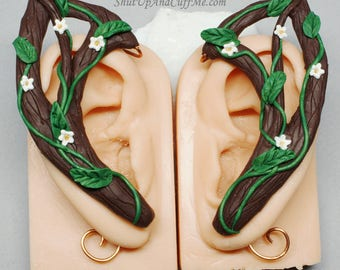 Woodland Elf Ear Cuffs, Tree Branch Ear Wrap, Flower Ear Cuffs, White Flowers, Green Vines, Brown Branch Ear Cuffs, Nature Jewelry, Elf Ears